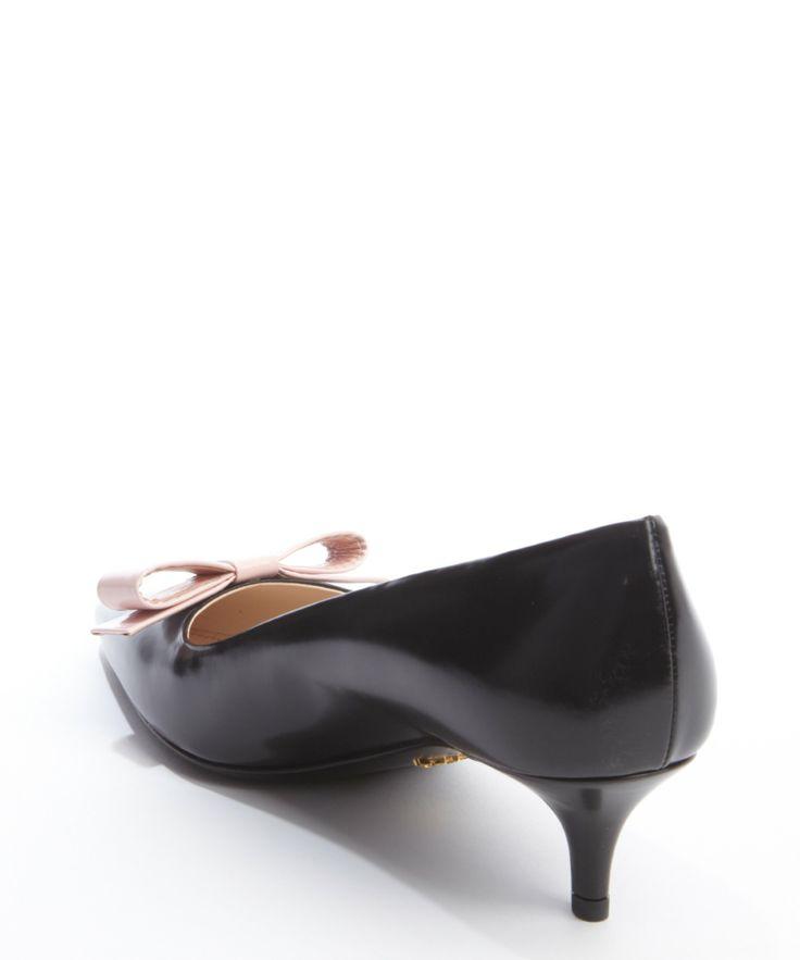 parada bag - Prada - Black Smooth Leather Pink Bow Tipped Pumps (BLUEFLY ...