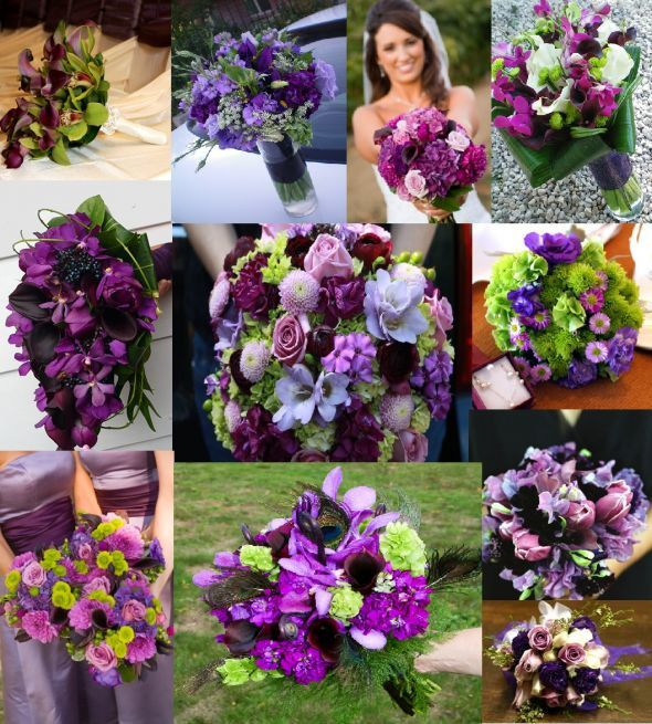 April Wedding Colors: Wedding Purple And Green Bridal Bouquets