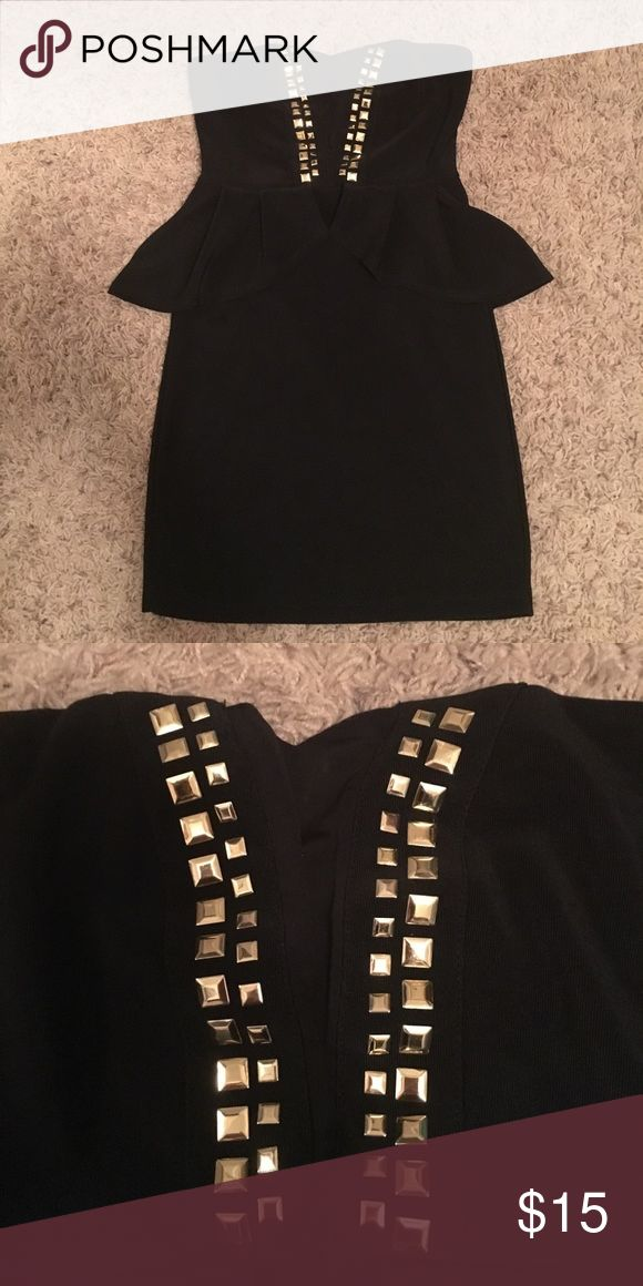 Black peplum mini with mesh detail Great bachelorette party dress! Has peplum detail with gold detail on top and mesh panel in between! Charlotte Russe Dresses Mini