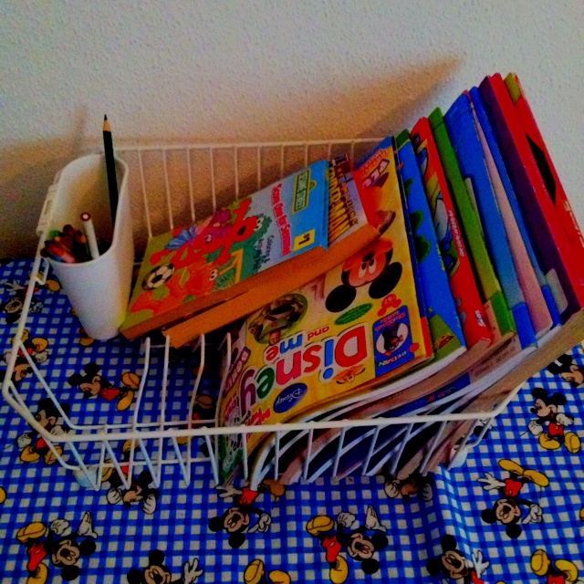 DIY Coloring Book Organizer Using A Dish Rack The Plate Holder Holds Books In Place And Utensil Carriage Markers Cr
