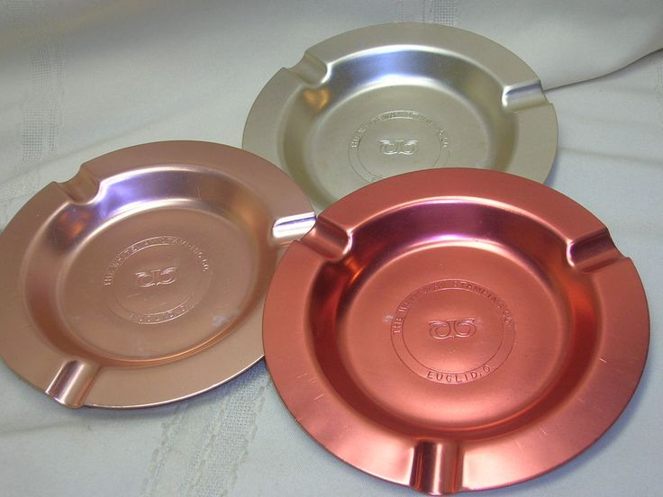 3 Vintage Ashtrays The Whiteway Stamping Co. Euclid Ohio Color