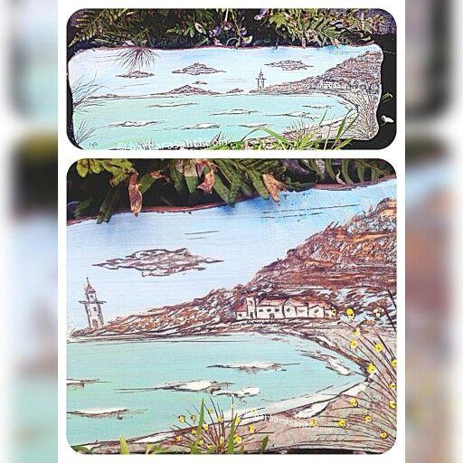 panorama marino dipinto e pirografato su tavola di legno di abete  pezzo unico  © barbarasanti #mare #artwork #woodart #wood #artigianato #toscana #italia #tuscany #italy #madeinitaly #artigianatoitaliano #barbarasanti #paesini #faro #seascape