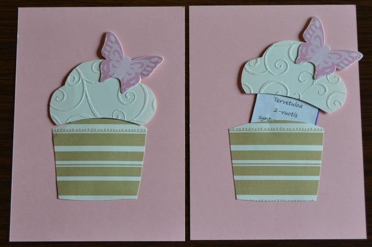 Kuppikakku kutsukortti, cupcake invitation card