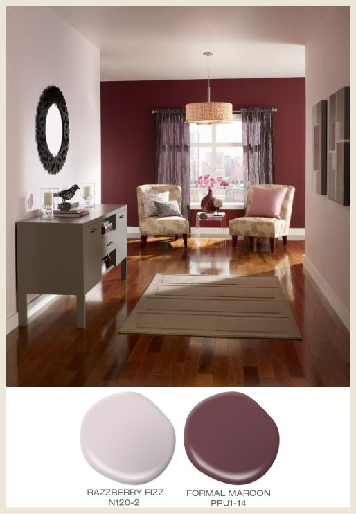 Color of the Month: Berry Red! Featured #BehrPaint room colors: Razzberry Fizz N120-2, Formal Maroon PPU1-14.