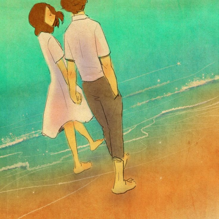 ♥  BEACH STROLL ~ Walking hand in hand together in the surf at the beach is THE…