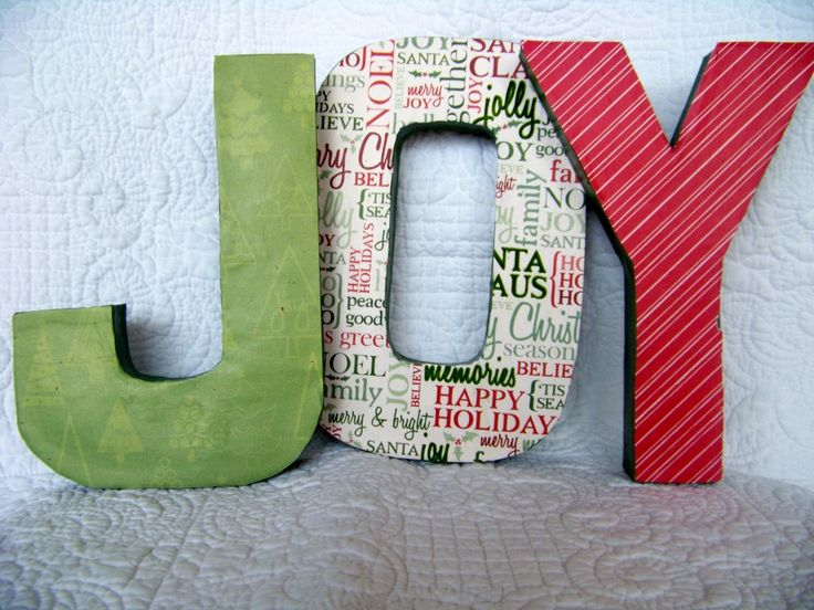 Modge Podge Wooden or Paper Mache letters tutorial    http://vphonegirl.blogspot.com/2012/11/joy-modge-podge-sign-diy.html