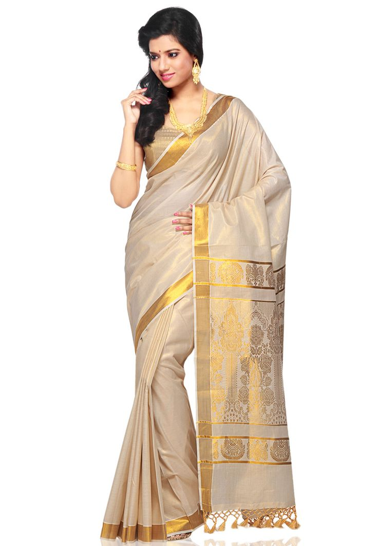 traditional kerala saree #whiteandgold