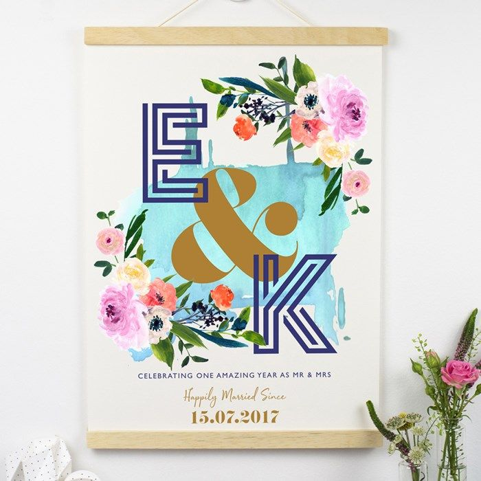 Personalised Paper Sign Floral 1st Anniversary Gettingpersonal