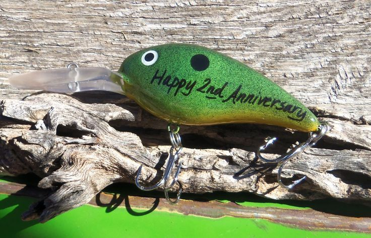 Happy Anniversary 2nd Wedding Anniversary Gift for Husband Personalized Lures Him Fisherman Boyfriend Fishing Hook Men Second Anniversary by CandTCustomLures on Etsy https://www.etsy.com/listing/168085629/happy-anniversary-2nd-wedding
