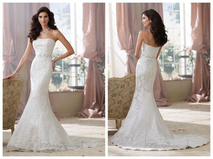 Strapless Lace Appliques Mermaid Wedding Dresses