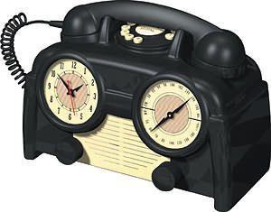TELEPHONE~1930s Bakelite clock radio phone.