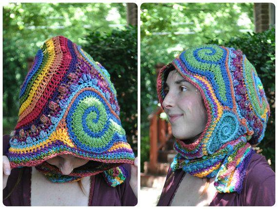 Wool-free Rainbow Freeform Crochet Hooded Scarf // by OfMars