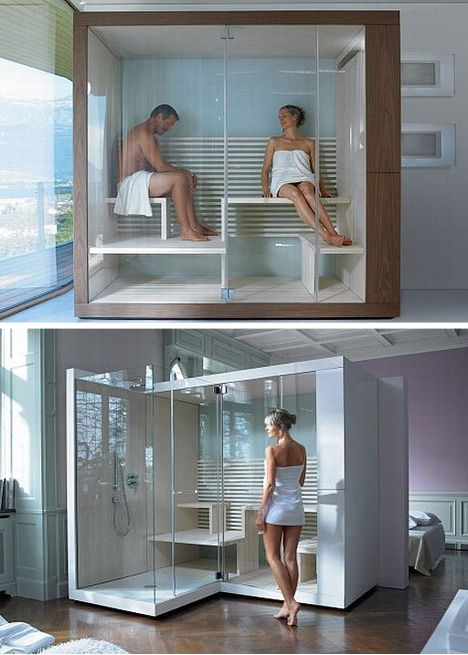 Dream Bathrooms with Saunas & Showers: Duravit Inipi has a series of white, wood and glass sauna-and-shower combinations that can slot right into existing open spaces, like lofts lacking a master bath, for instance.