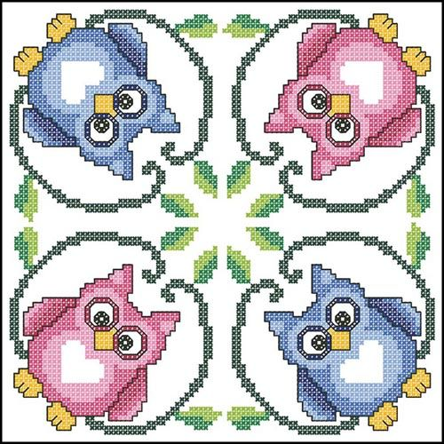 Cross-stitch Owl Biscornu ... no color chart available, just use pattern chart as your color guide.. or choose your own colors...