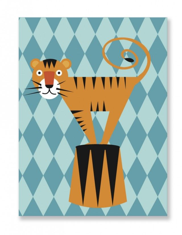 Roar! Circus poster by My little treasure #nordicdesigncollective #tiger #circus #orange #black #stripes #stripe #striped #clown #animal #trick #poster #print #design #paper #nordicdesign #kidsroom #childrensroom #kidsposter #childrensposter #jointhecircus #circus