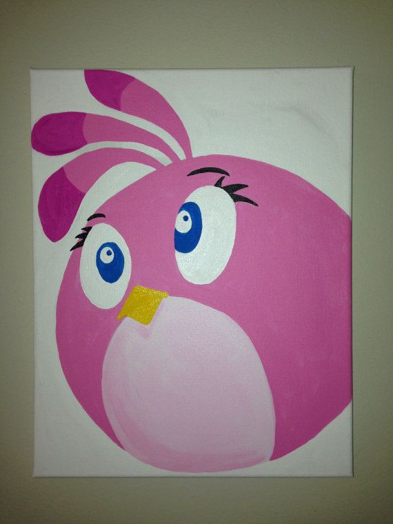 Stella Pink Angry Bird Canvas painting 11x14. Original Girls s Room Wall Art. on Etsy, $35.00