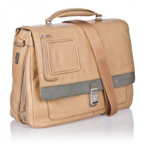 Кожаный портфель Piquadro с отделение для ноутбука. Коллекция VIBE. Цвет коричневый