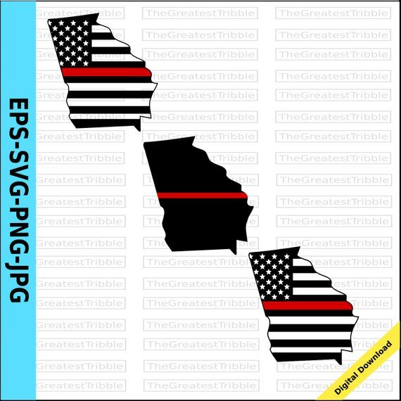 Thin Red Line Georgia Usa Flag Thin Red Line American Flag Eps Etsy American Flag Clip Art Clip Art Usa Flag
