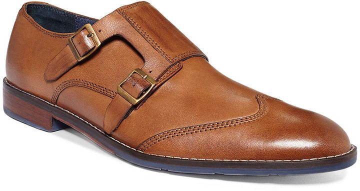 $135, Tan Leather Double Monks: Hush Puppies Style Monk Strap Shoes. Sold by Macy's. Click for more info: http://lookastic.com/men/shop_items/24600/redirect