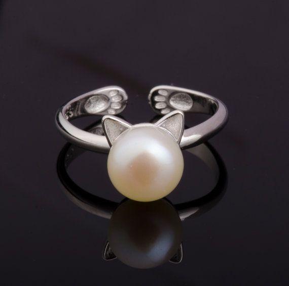 Katzen-Perlen-Ring aus Silber