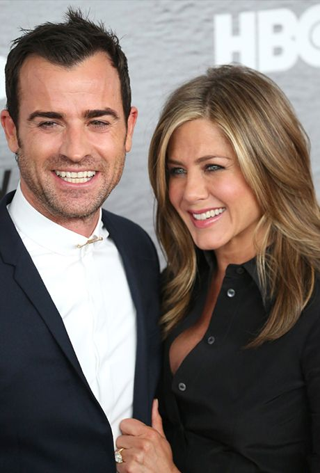 Brides.com: . Jennifer Aniston and Justin Theroux. Since Aniston and Theroux got engaged in August 2012, there have been countless tabloid stories claiming the couple are planning a secret wedding ... or breaking up. Aniston doesn't seem concerned, telling friend Ellen DeGeneres that the couple's biggest concern is they can't plan a casual party because all of their friends think it's secretly their wedding, leading friends Isla Fisher and Sacha Baron Cohen to way overdress for Aniston's ...