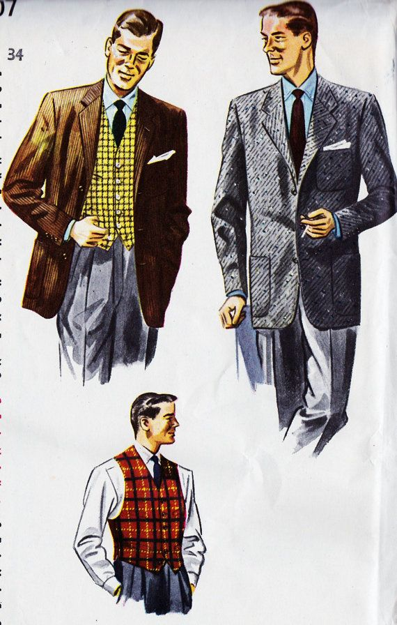 "1950s Mens Jacket and Vest Vintage Sewing Pattern, Office Fashion, Mad Men, College, Simplicity 4107 Chest 34"" uncut"