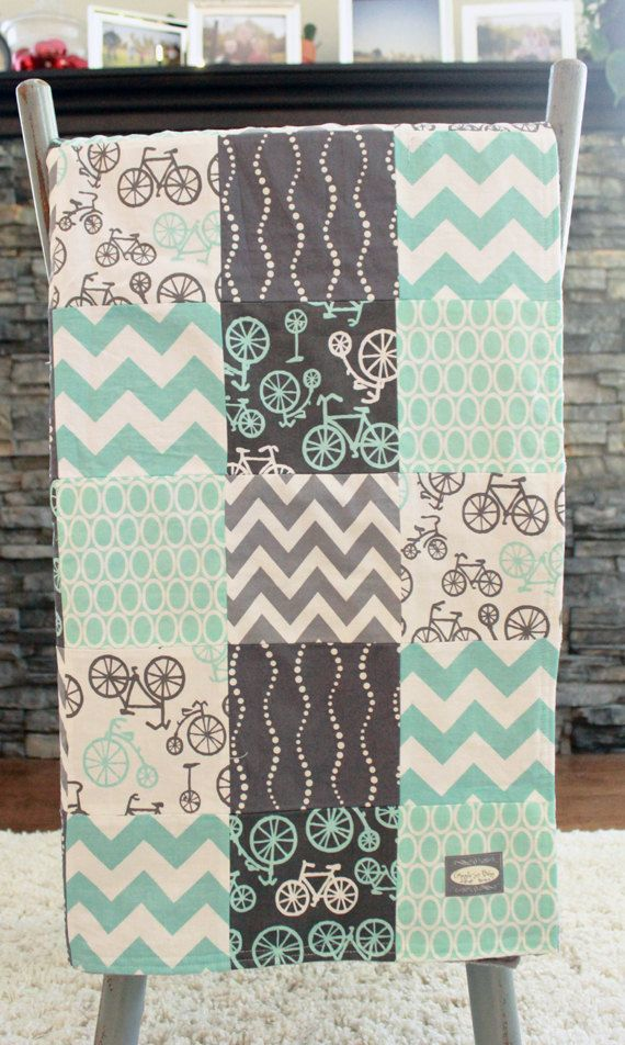 Patchwork Baby Blanket Modern Baby Quilt Grey by GiggleSixBaby