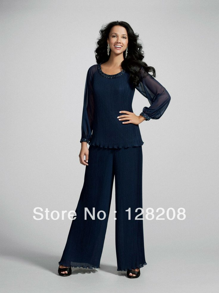 new arrival chiffon beaded two piece dark navy mother of