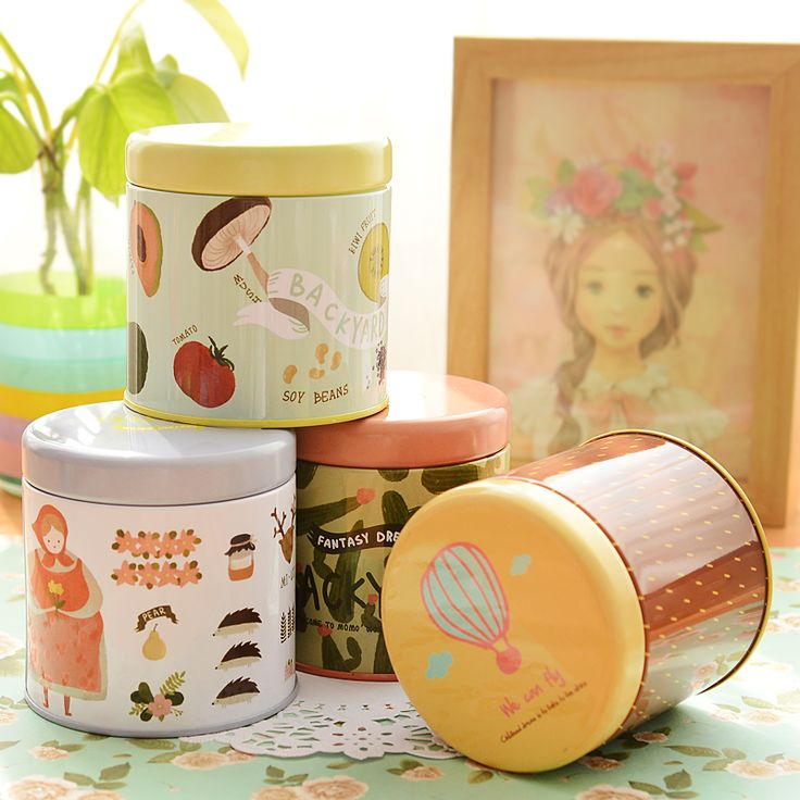 1pc renkli çok fonksiyonlu teneke daire saklama kutusu takı kutu küçük yuvarlak kalay çay caddy depolama kutuları