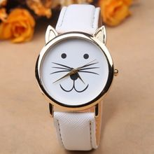 2015 Fashion GENEVA Dial Cat Watches Women Dress Watch charms Lady Casual Reloj Quartz Watches orologio da polso 6 Colors(China (Mainland))