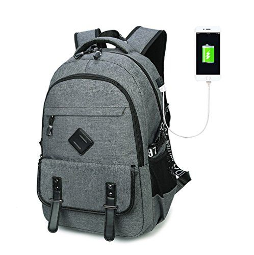 Furivy Multifunctional Oxford Water-resistant College Student School Business Travel Laptop Shoulder Bag Backpack with USB Charging Port Gray. For product & price info go to:  https://all4hiking.com/products/furivy-multifunctional-oxford-water-resistant-college-student-school-business-travel-laptop-shoulder-bag-backpack-with-usb-charging-port-gray/
