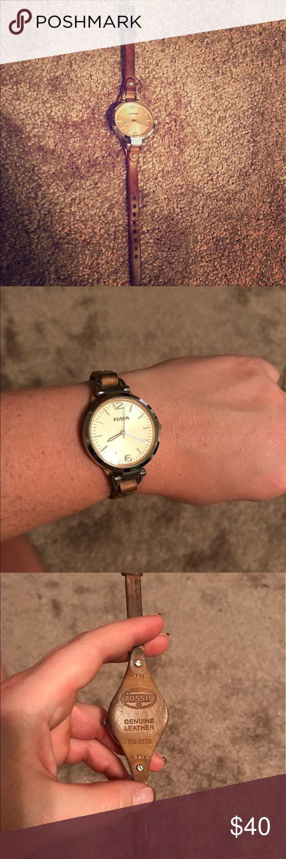 Fossil Leather Watch Fossil leather watch with light brown/tan leather band and silver metal. Working battery. No scratches, good condition. Fossil Accessories Watches