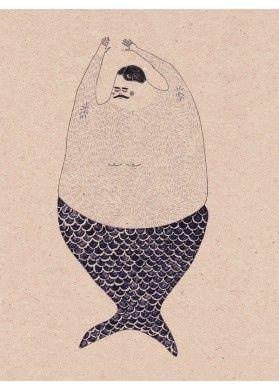 Anna Maria Lubinska - Hairy Siren - L'Affiche Moderne - Sirène