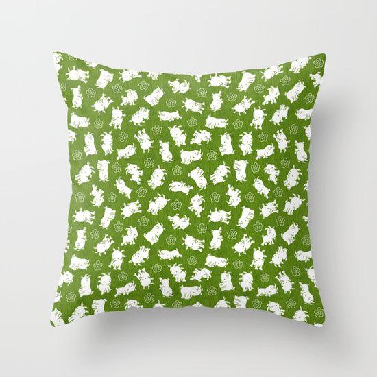 Ditsy Goat Green Throw Pillow