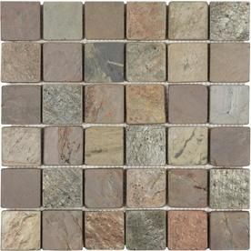 Anatolia Tile Multi Color Tumbled Uniform Squares Mosaic Slate Wall Tile (Common: 12-in x 12-in; Actual: 11.73-in x 11.73-in)