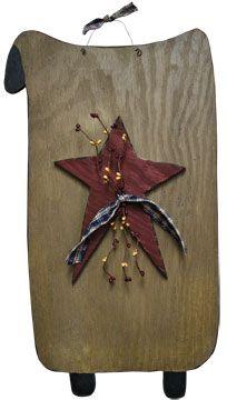 Primitive Crafts | Primitive Sheep w/Star & Berries - Large - Craft Wholesalers --