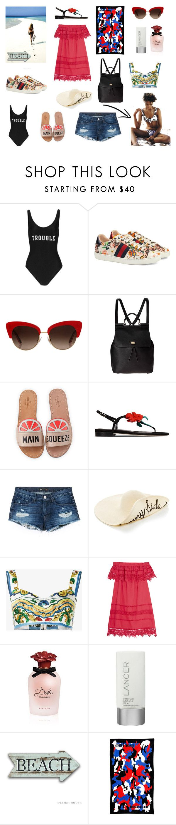 """* Croatia Here We go! *"" by dpintainha on Polyvore featuring ADRIANA DEGREAS, Gucci, Dolce&Gabbana, Kate Spade, Oscar de la Renta, 3x1, Sea, New York, Lancer Dermatology and Dsquared2"