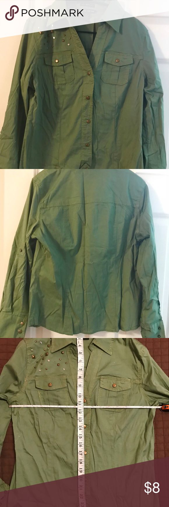 NWOT Green Long Sleeve Studded Shirt w/ Stretch Shirt is NWOT Green Shirt ( shade lighter than army green) trimmed in gold threading  Has snap closure... Sleeves have snaps and can also roll up and be snapped. Tops Button Down Shirts