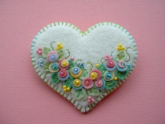 Felt Flower Heart by Beedeebabee on Etsy