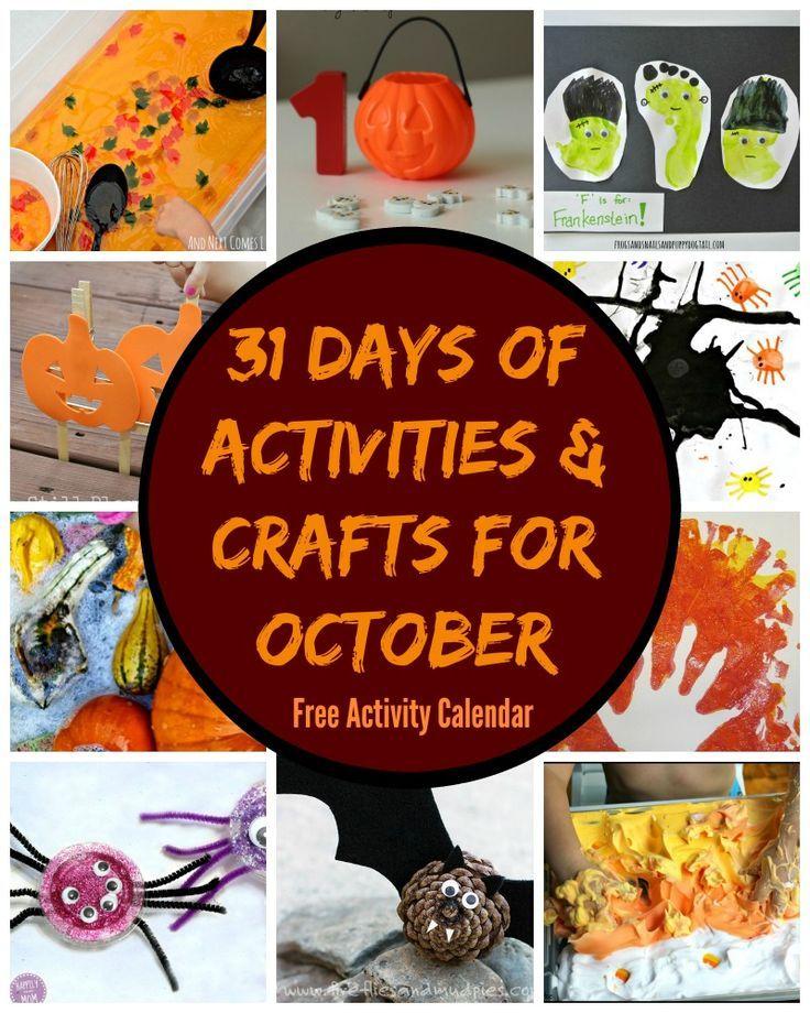 31 Days of Fun Crafts & Activities for October! Free Activity Calendar!
