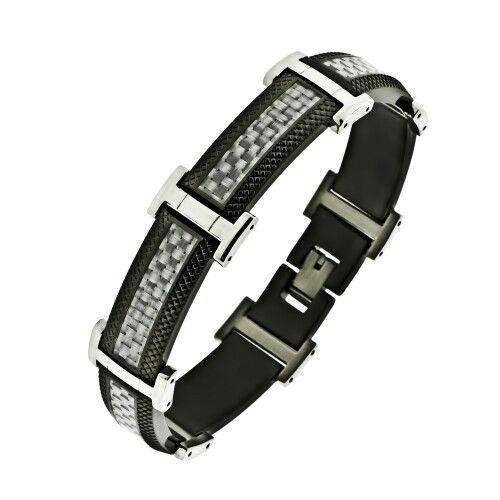 Stainless Steel Men's Black Ion-plated Textured Bracelet