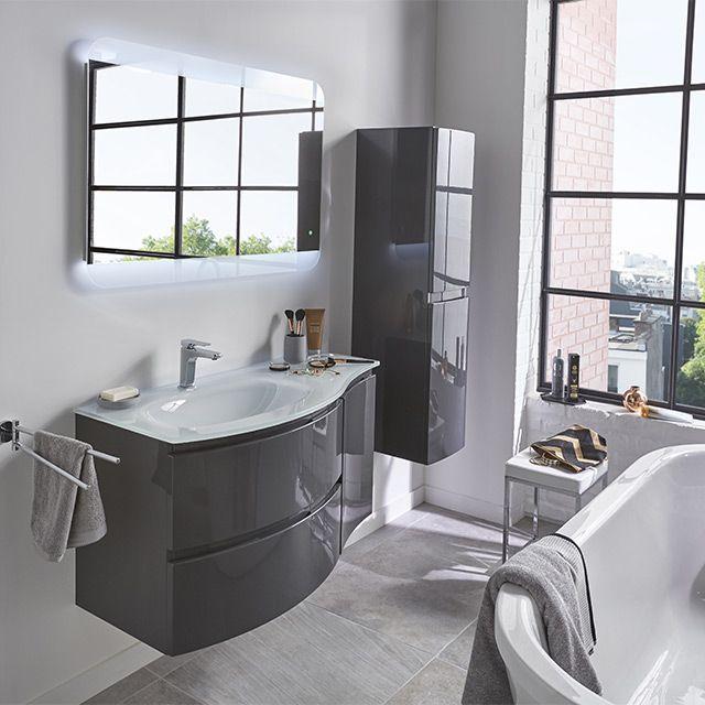 Meuble de salle de bains gris 104 cm Vague - CASTORAMA   deco en ...