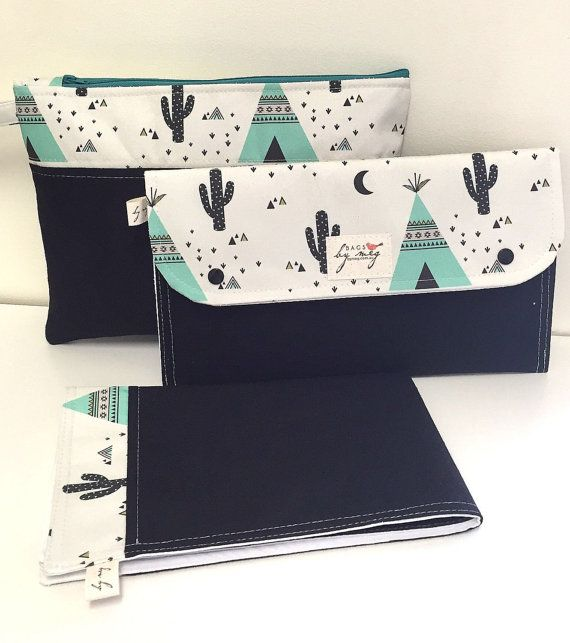 Diaper clutch nappy bag wallet with travel change mat and wet bag set. Aqua teepees on black. Best baby shower gift