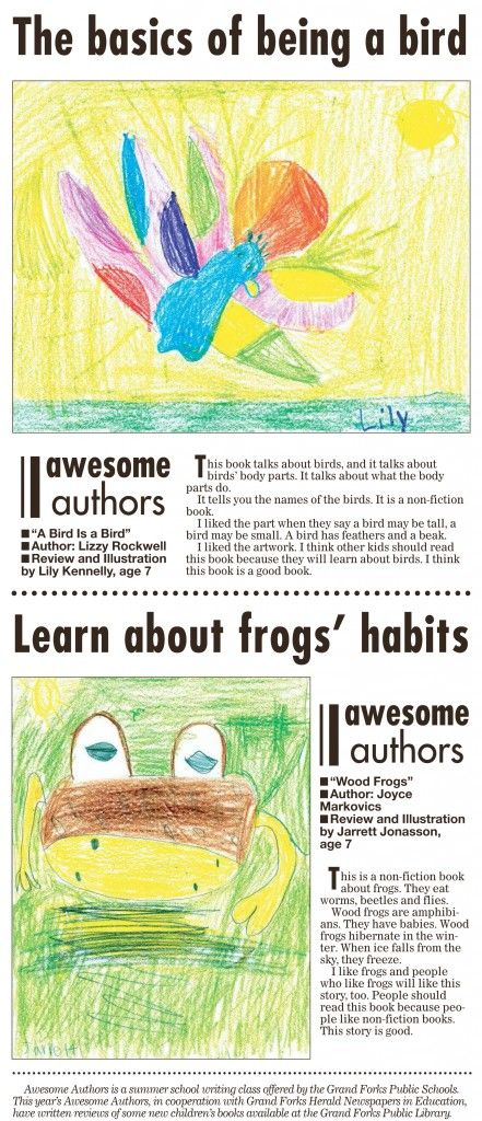 Week 3 Awesome Authors' book reviews and illustrations are from Lily Kennelly, age 7 and Jarrett Jonasson, age 7. These appeared in the Grand Forks Herald on Sunday, September 13, 2015.