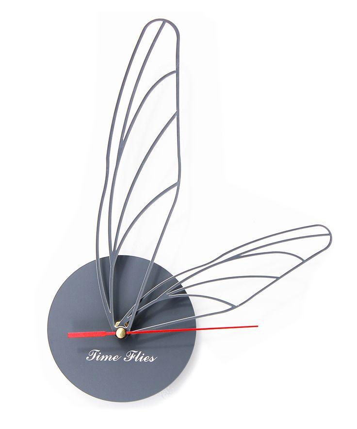 Gray Time Flies Clock | dotandbo.com