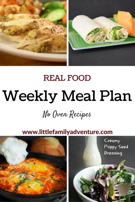 No Oven Real Food Meal Plan Grocery List | Little Family Adventure