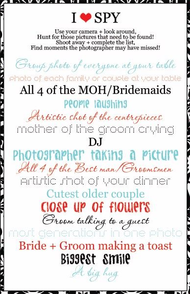 wedding photography - by the guests!  Great little sign to go with a disposable camera at each table