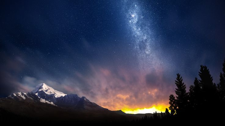 General 2560x1440 landscape mountains stars Milky Way sunset