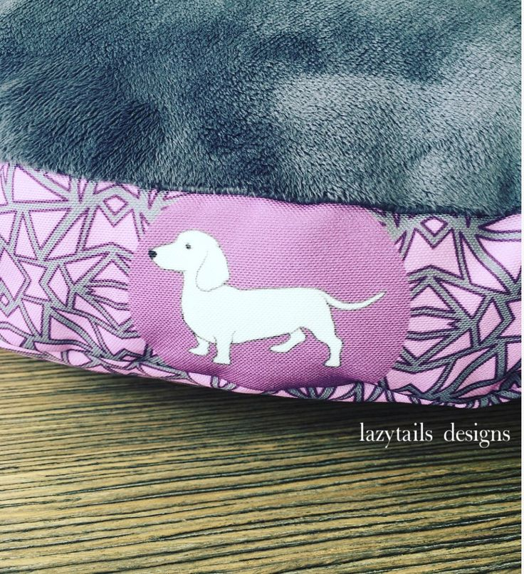 Dachshund print pet bed with minky fabric for extra warmth