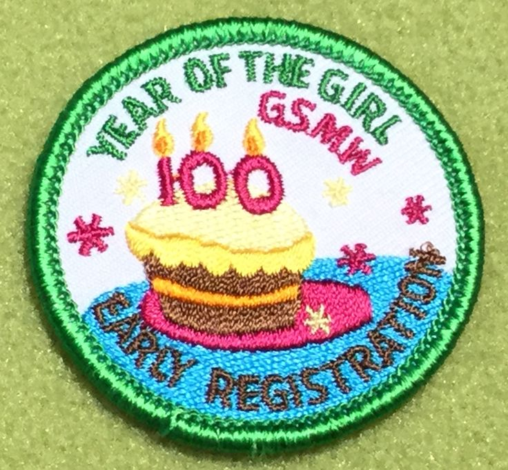 Girl Scout Montana Wyoming 100th anniversary patch. Year of the Girl, GSMW, Early Registration birthday cake patch. Thank you, Kris!